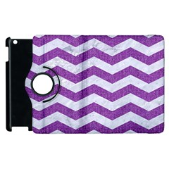 Chevron3 White Marble & Purple Denim Apple Ipad 2 Flip 360 Case by trendistuff