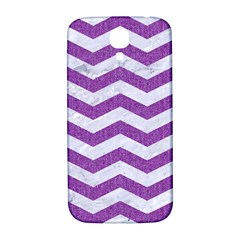 Chevron3 White Marble & Purple Denim Samsung Galaxy S4 I9500/i9505  Hardshell Back Case