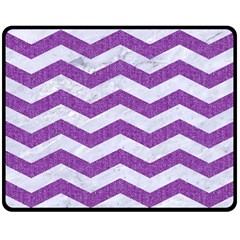 Chevron3 White Marble & Purple Denim Double Sided Fleece Blanket (medium)