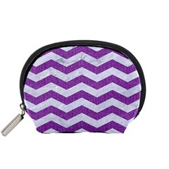 Chevron3 White Marble & Purple Denim Accessory Pouches (small)