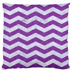 Chevron3 White Marble & Purple Denim Large Flano Cushion Case (two Sides)