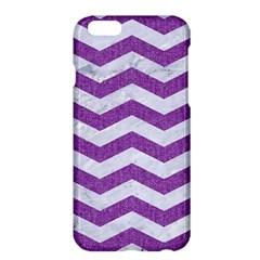 Chevron3 White Marble & Purple Denim Apple Iphone 6 Plus/6s Plus Hardshell Case
