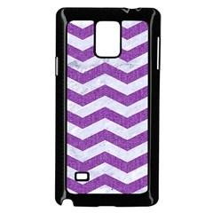 Chevron3 White Marble & Purple Denim Samsung Galaxy Note 4 Case (black)