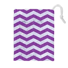Chevron3 White Marble & Purple Denim Drawstring Pouches (extra Large)