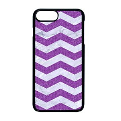 Chevron3 White Marble & Purple Denim Apple Iphone 8 Plus Seamless Case (black) by trendistuff