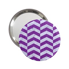 Chevron2 White Marble & Purple Denim 2 25  Handbag Mirrors