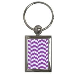 Chevron2 White Marble & Purple Denim Key Chains (rectangle)
