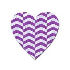 Chevron2 White Marble & Purple Denim Heart Magnet