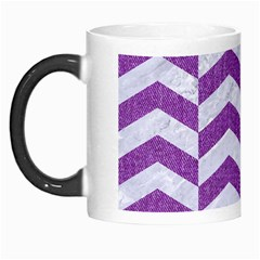 Chevron2 White Marble & Purple Denim Morph Mugs