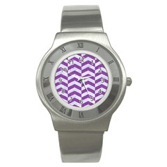 Chevron2 White Marble & Purple Denim Stainless Steel Watch