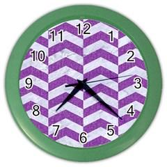 Chevron2 White Marble & Purple Denim Color Wall Clocks