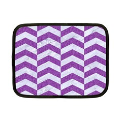 Chevron2 White Marble & Purple Denim Netbook Case (small)  by trendistuff
