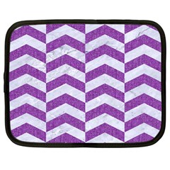 Chevron2 White Marble & Purple Denim Netbook Case (large)