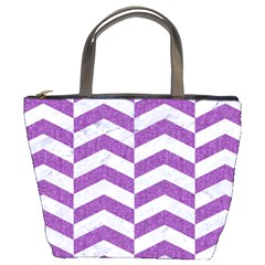 Chevron2 White Marble & Purple Denim Bucket Bags