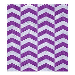 Chevron2 White Marble & Purple Denim Shower Curtain 66  X 72  (large)