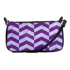 Chevron2 White Marble & Purple Denim Shoulder Clutch Bags by trendistuff