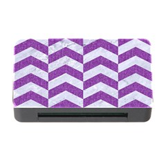 Chevron2 White Marble & Purple Denim Memory Card Reader With Cf
