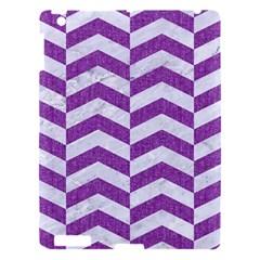 Chevron2 White Marble & Purple Denim Apple Ipad 3/4 Hardshell Case