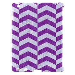 Chevron2 White Marble & Purple Denim Apple Ipad 3/4 Hardshell Case (compatible With Smart Cover)