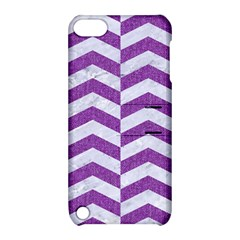 Chevron2 White Marble & Purple Denim Apple Ipod Touch 5 Hardshell Case With Stand by trendistuff