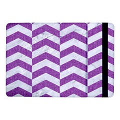 Chevron2 White Marble & Purple Denim Samsung Galaxy Tab Pro 10 1  Flip Case