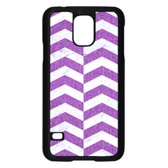 Chevron2 White Marble & Purple Denim Samsung Galaxy S5 Case (black)