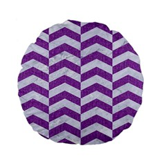Chevron2 White Marble & Purple Denim Standard 15  Premium Flano Round Cushions