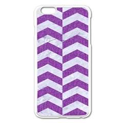 Chevron2 White Marble & Purple Denim Apple Iphone 6 Plus/6s Plus Enamel White Case