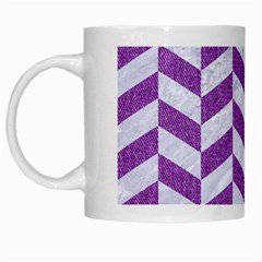 Chevron1 White Marble & Purple Denim White Mugs by trendistuff