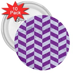 Chevron1 White Marble & Purple Denim 3  Buttons (10 Pack)