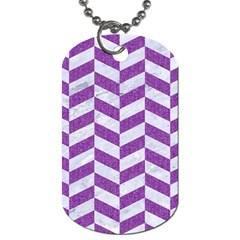 Chevron1 White Marble & Purple Denim Dog Tag (one Side)