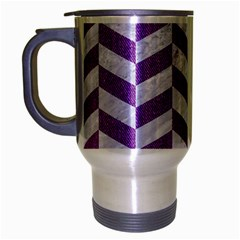 Chevron1 White Marble & Purple Denim Travel Mug (silver Gray)