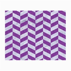 Chevron1 White Marble & Purple Denim Small Glasses Cloth