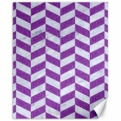 Chevron1 White Marble & Purple Denim Canvas 16  X 20