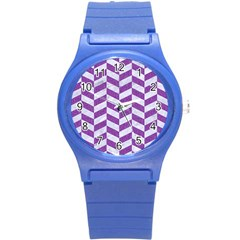 Chevron1 White Marble & Purple Denim Round Plastic Sport Watch (s)