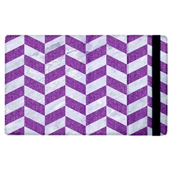 Chevron1 White Marble & Purple Denim Apple Ipad 3/4 Flip Case by trendistuff