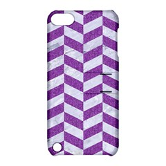 Chevron1 White Marble & Purple Denim Apple Ipod Touch 5 Hardshell Case With Stand