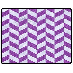 Chevron1 White Marble & Purple Denim Double Sided Fleece Blanket (medium)  by trendistuff
