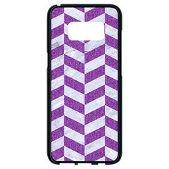 Chevron1 White Marble & Purple Denim Samsung Galaxy S8 Black Seamless Case