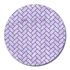 Brick2 White Marble & Purple Denim (r) Round Mousepads