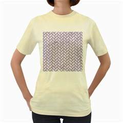 Brick2 White Marble & Purple Denim (r) Women s Yellow T Shirt