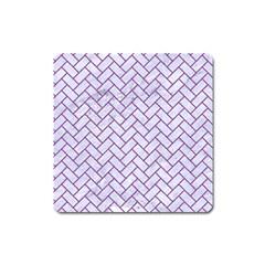 Brick2 White Marble & Purple Denim (r) Square Magnet