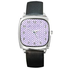 Brick2 White Marble & Purple Denim (r) Square Metal Watch by trendistuff