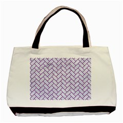 Brick2 White Marble & Purple Denim (r) Basic Tote Bag (two Sides)