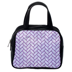 Brick2 White Marble & Purple Denim (r) Classic Handbags (one Side)