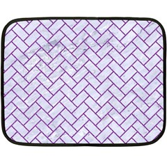 Brick2 White Marble & Purple Denim (r) Double Sided Fleece Blanket (mini)  by trendistuff