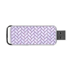 Brick2 White Marble & Purple Denim (r) Portable Usb Flash (one Side)