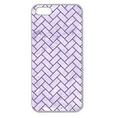 Brick2 White Marble & Purple Denim (r) Apple Seamless Iphone 5 Case (clear)