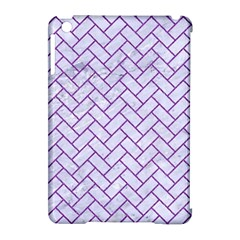 Brick2 White Marble & Purple Denim (r) Apple Ipad Mini Hardshell Case (compatible With Smart Cover)
