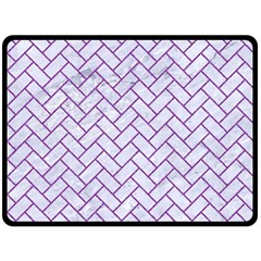 Brick2 White Marble & Purple Denim (r) Double Sided Fleece Blanket (large)